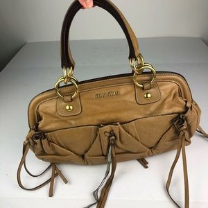 Miu Miu Handbag Tan Beige Leather shoulder snap
